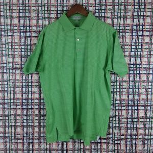 Peter Millar Cotton Green White Striped Golf Shirt